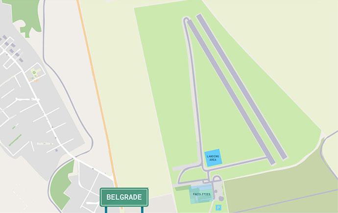 graficki prikazan izgled aerodroma lisicji jarak