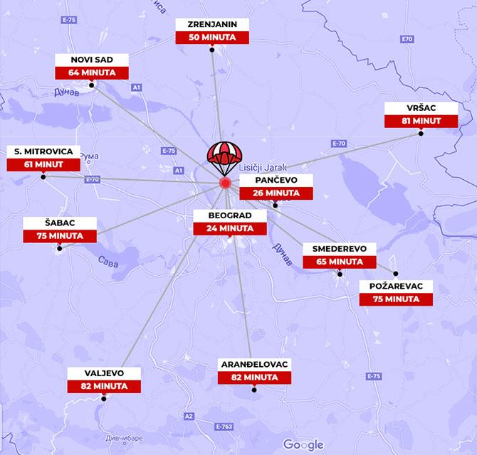 mapa udaljenosti većih gradova u Srbiji od Padobranskog Centra